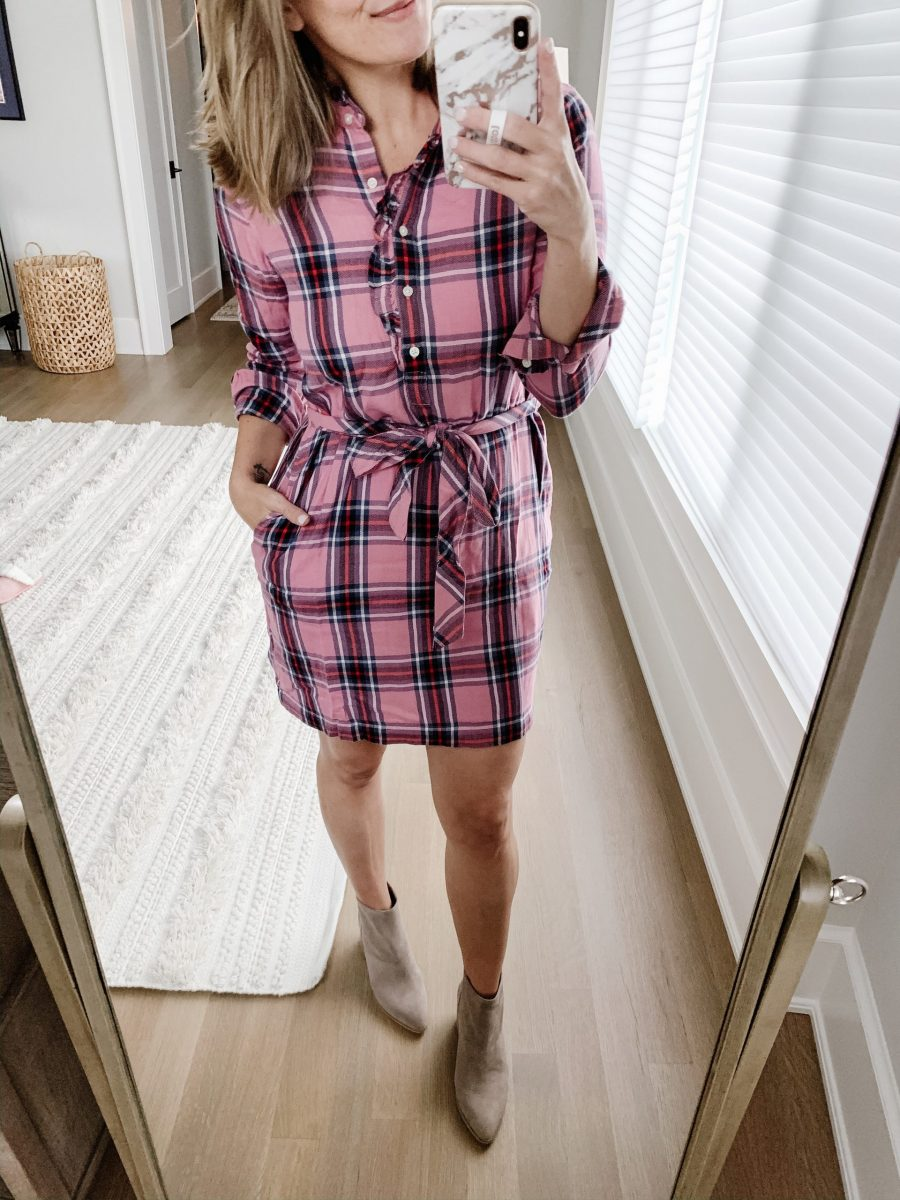 Fall outfit ideas, flannel shirt dress and booties