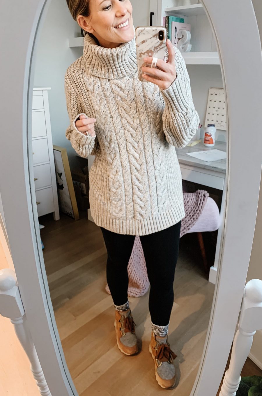 Fall outfits--cable knit sweater, leggings, and Sorel boots