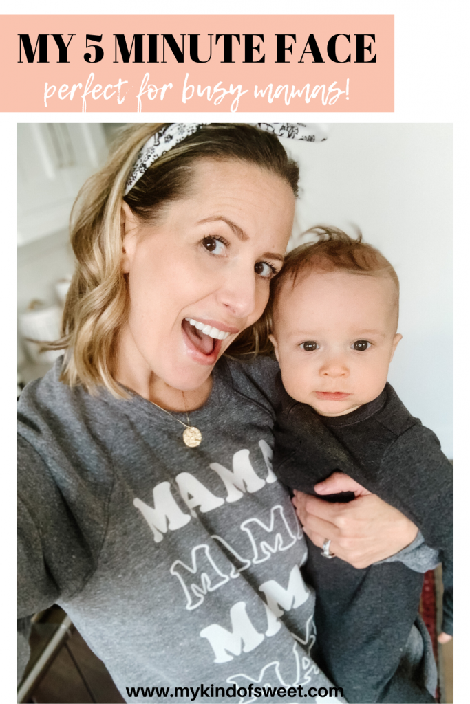 As a mom of three littles, it's hard to make time to get ready, so I'm sharing a 5 minute makeup routine routine to help you feel good.