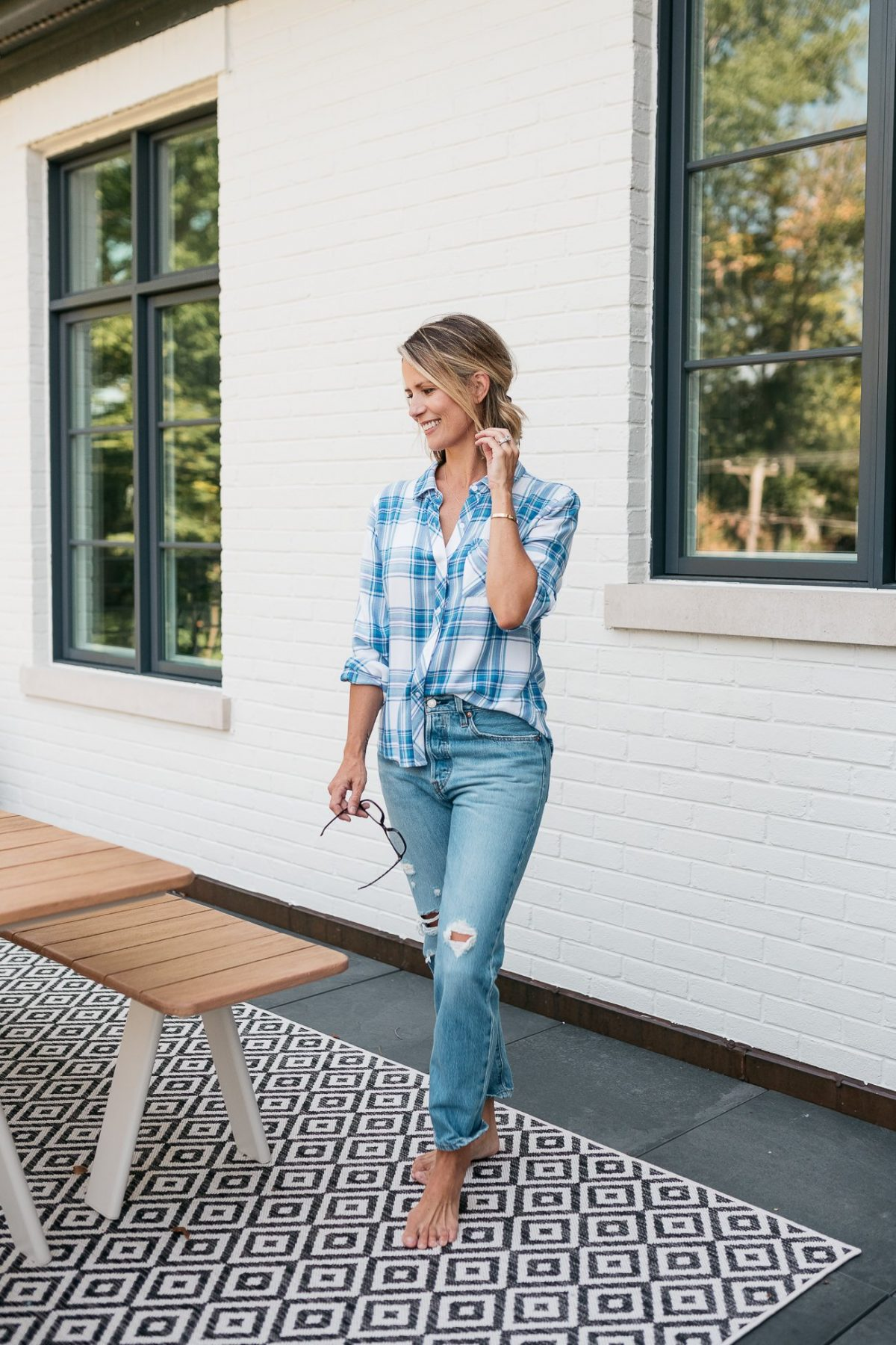 Summer to fall style: plaid shirt and boyfriend jeans