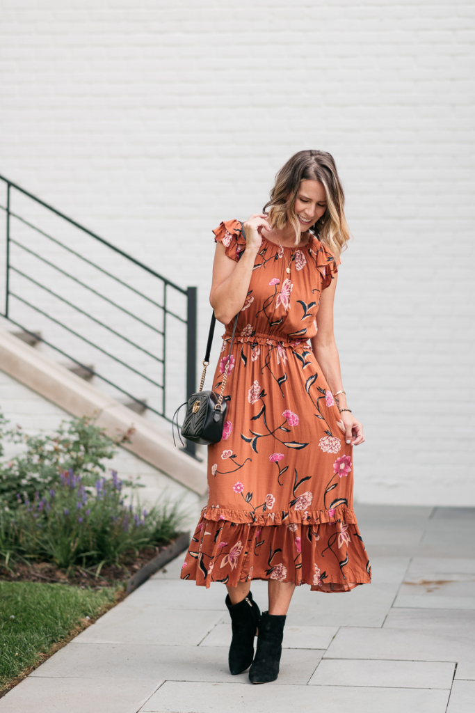 This floral maxi dress is SO pretty. It's less than $30 and comes in a few other colors/patterns. It's flattering and the details are so pretty.