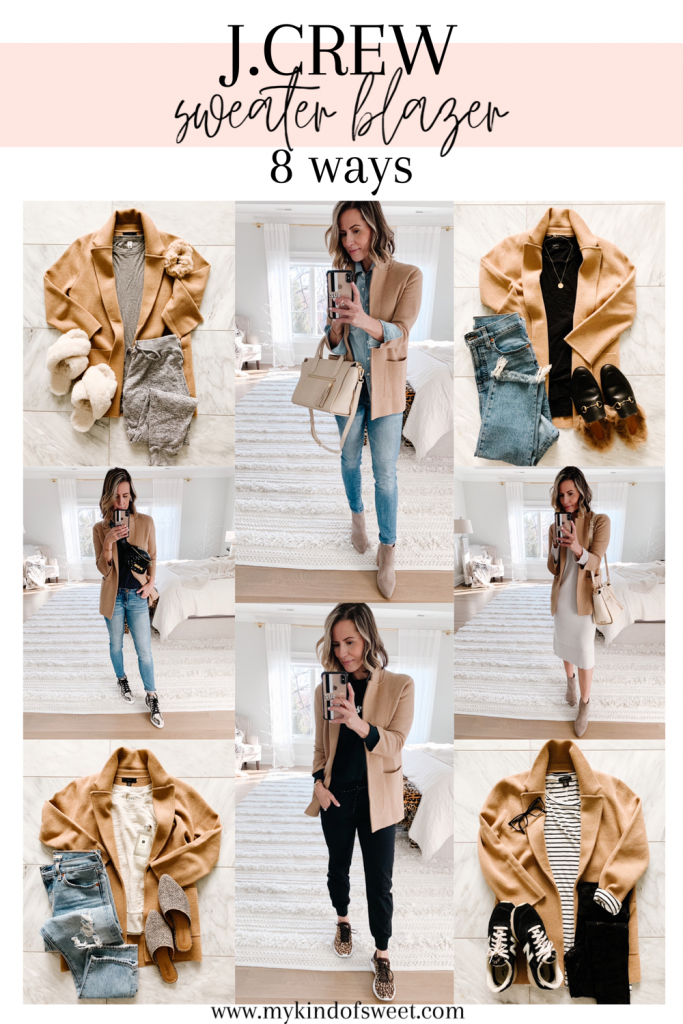 Today I'm sharing sharing 8 way to style one of my favorite recent finds: my J.Crew Sweater Blazer--It is so trendy and versatile.