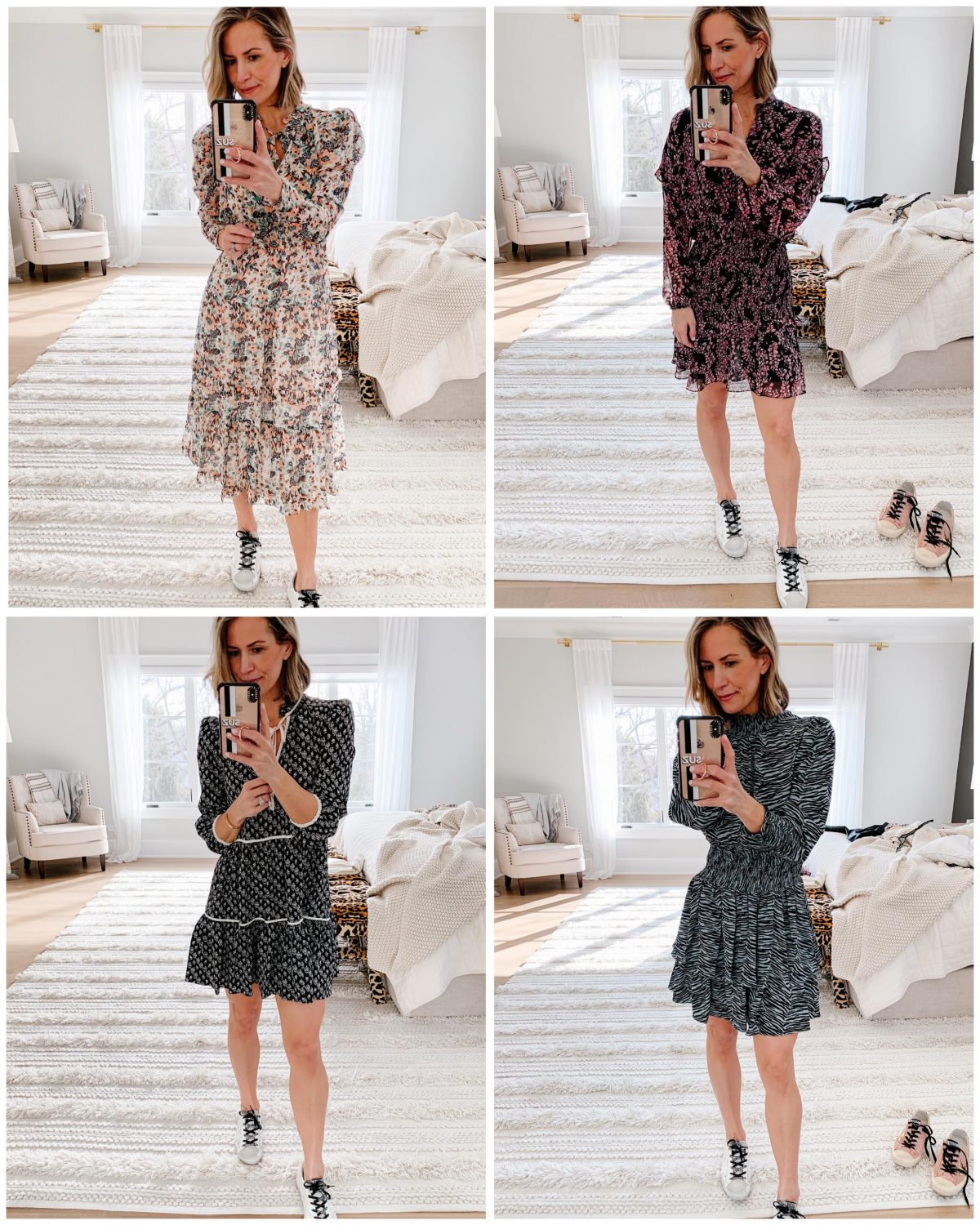 4 Spring Dresses Styled With Golden Goose Sneakers