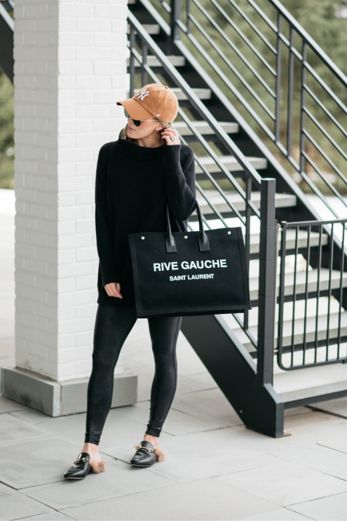 Winter outfit ideas--Free People black tunic, Spanx faux leather leggings