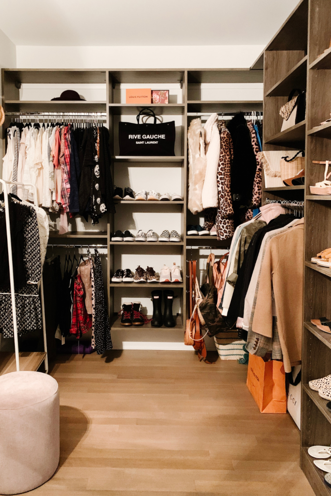 I'm giving a full closet tour complete with built in shelving, clothes storage, organization, shoe shelves, and hat storage.