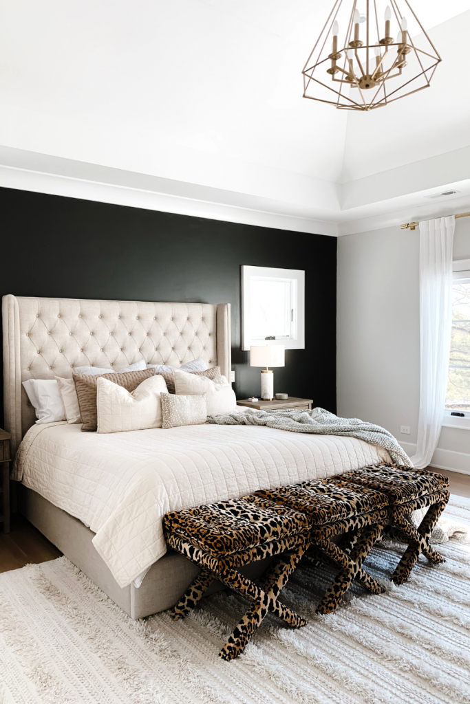Today I'm sharing a cozy and chic master bedroom update featuring a black accent wall to make all the accents pop.