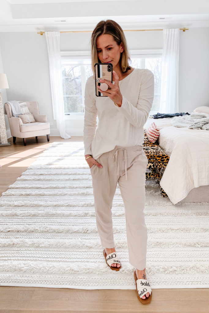 February best sellers: ruched sleeve tee shirt and lounge pants