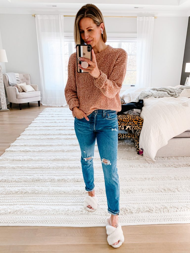 Real #ootd round up, Target sweater, denim, and slippers