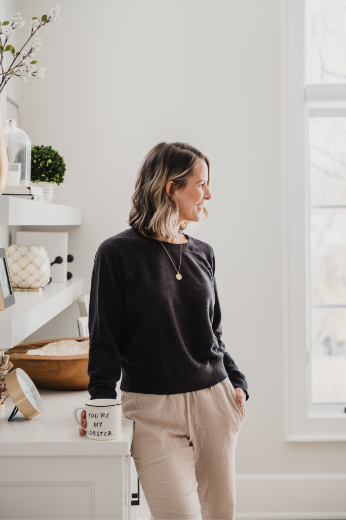 Two Loungewear Pieces You Need For Spring, J. Crew sweatshirt and Target lounge pants