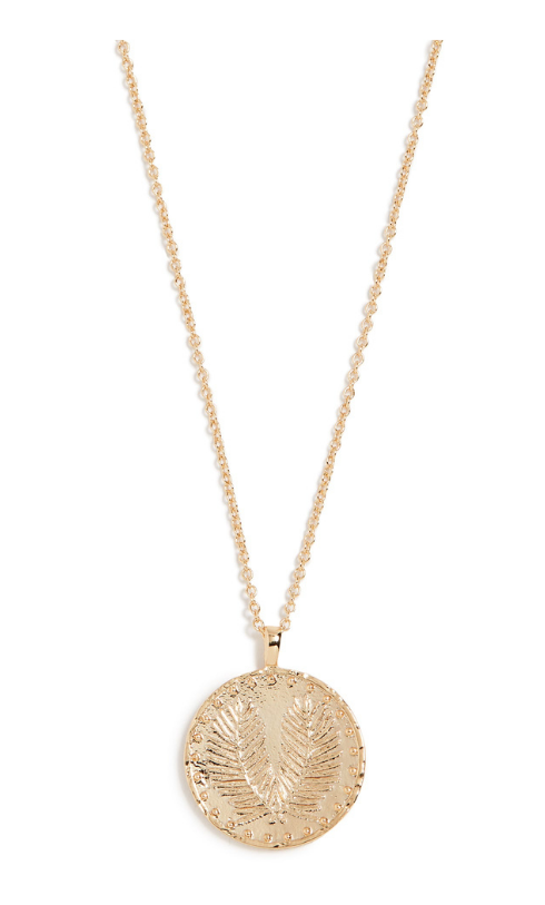 Summer capsule wardrobe, gold coin necklace