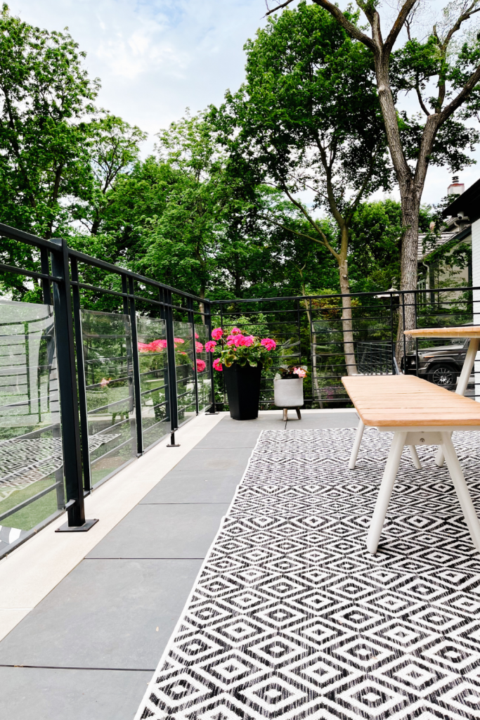 Balcony styling tips, picnic table and rug