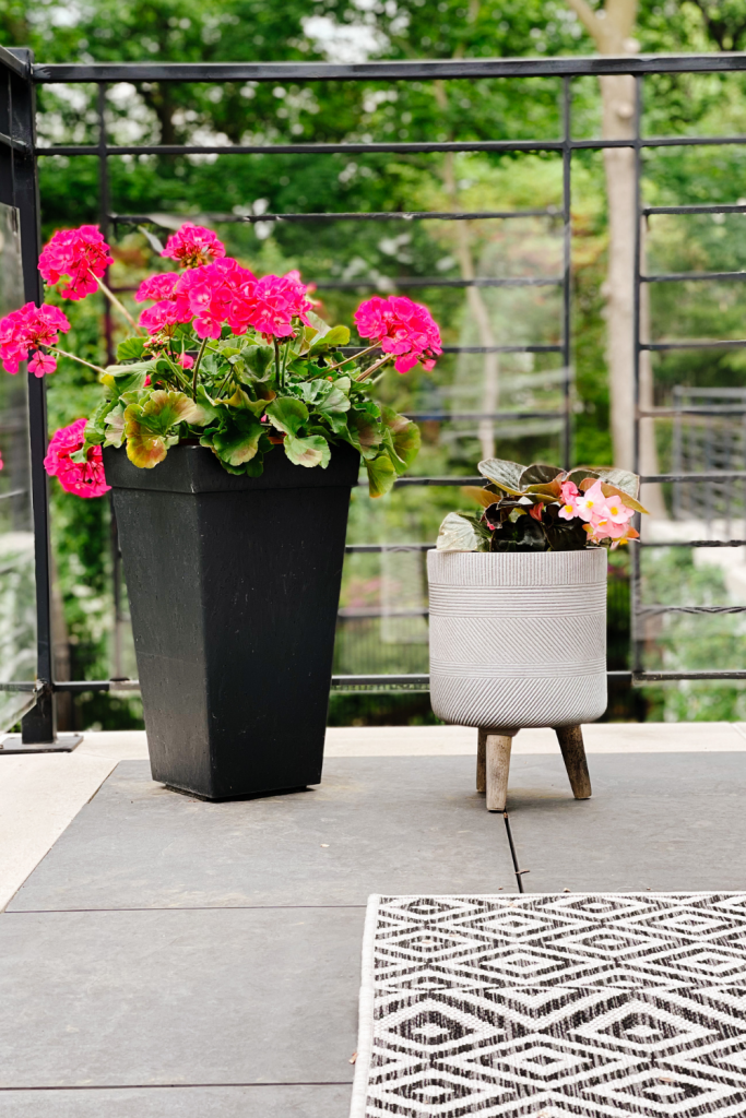 Balcony styling tips, flowers and outdoor rug