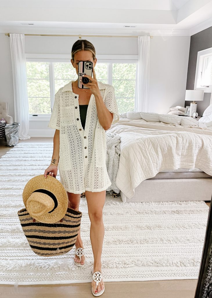 June #ootd round up, romper swimsuit cover up, sandals, straw hat and bag
