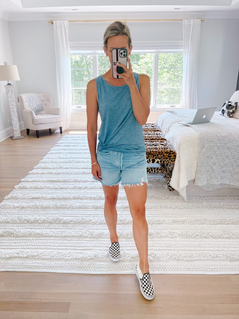 June #ootd round up, tank, cut odd shorts, and  Vans