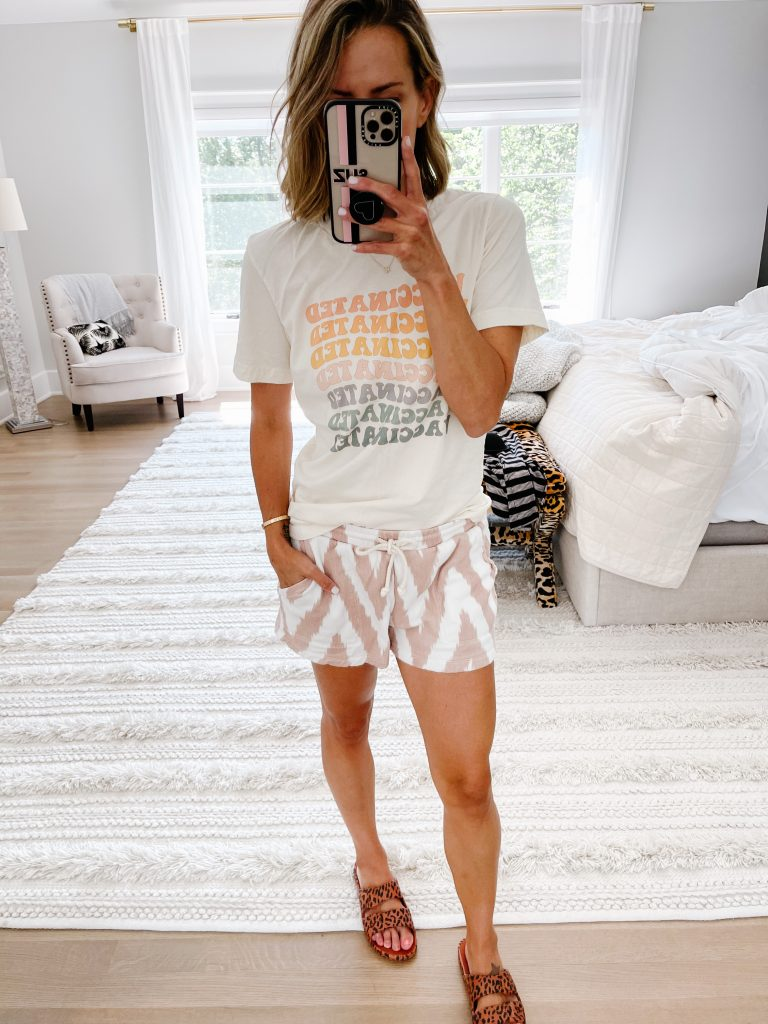 June #ootd round up, vaccinated tee, lounge shorts, and slides