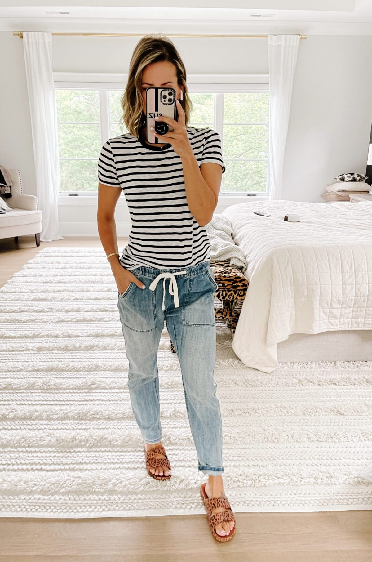 Late summer #ootd round up, striped tee and joggers