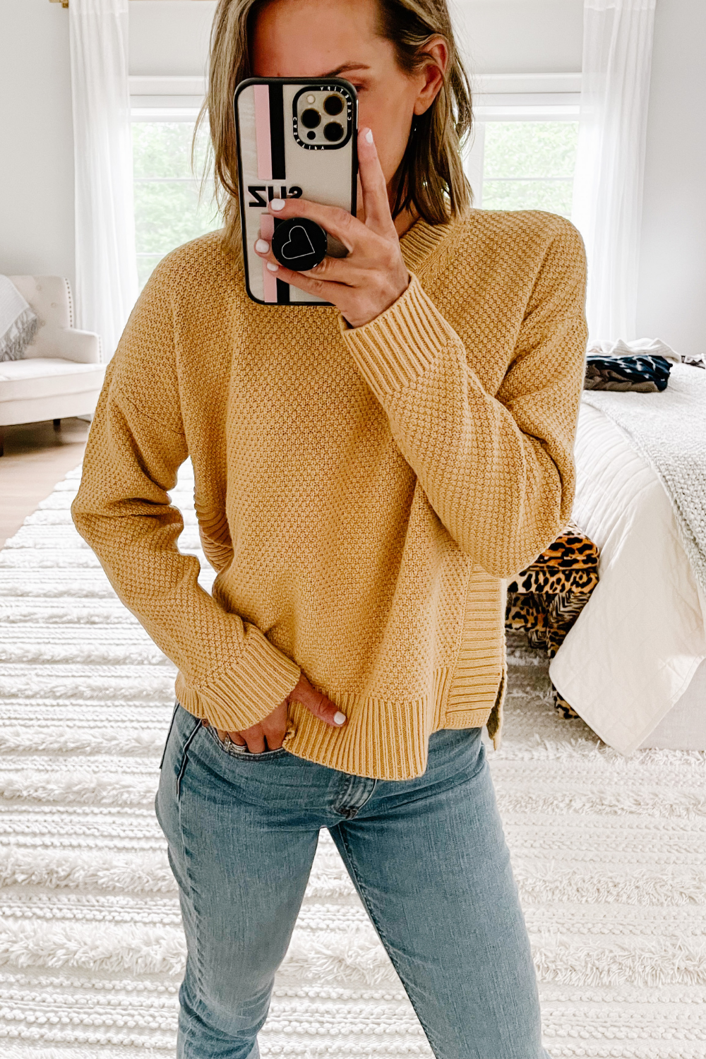 Closet staples: Madewell sweater and skini jeans