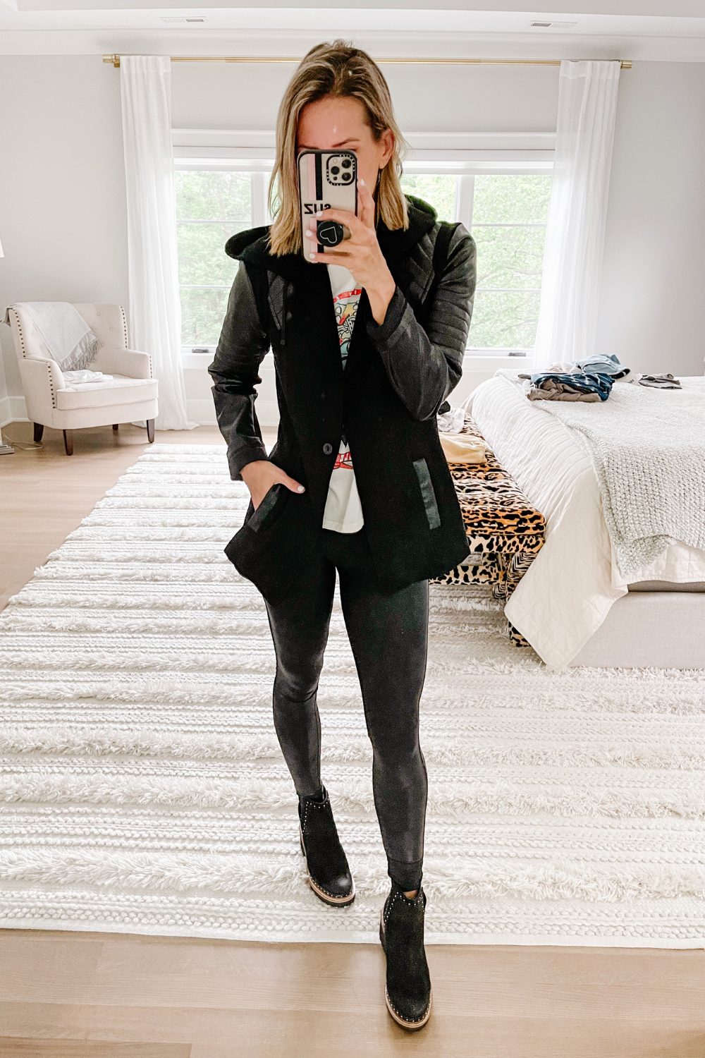 Closet staples: moto jacket, Dolce Vita studded booties, Spanx faux leather leggings
