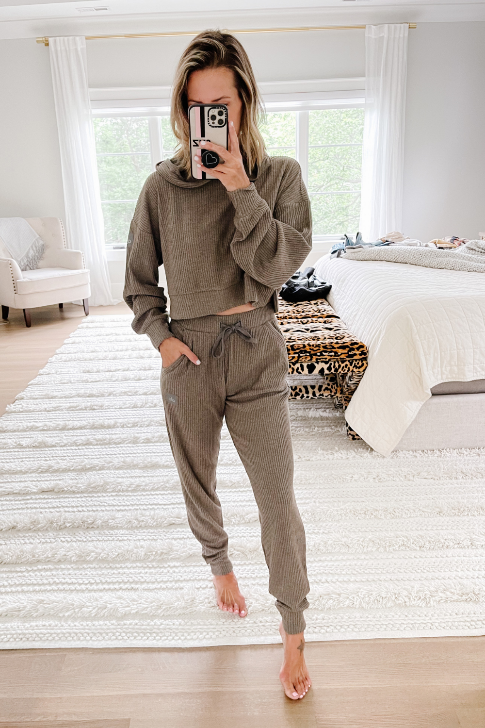 Nordstrom Anniversary Sale: ribbed crop hoodie and high waist sweat pant joggers