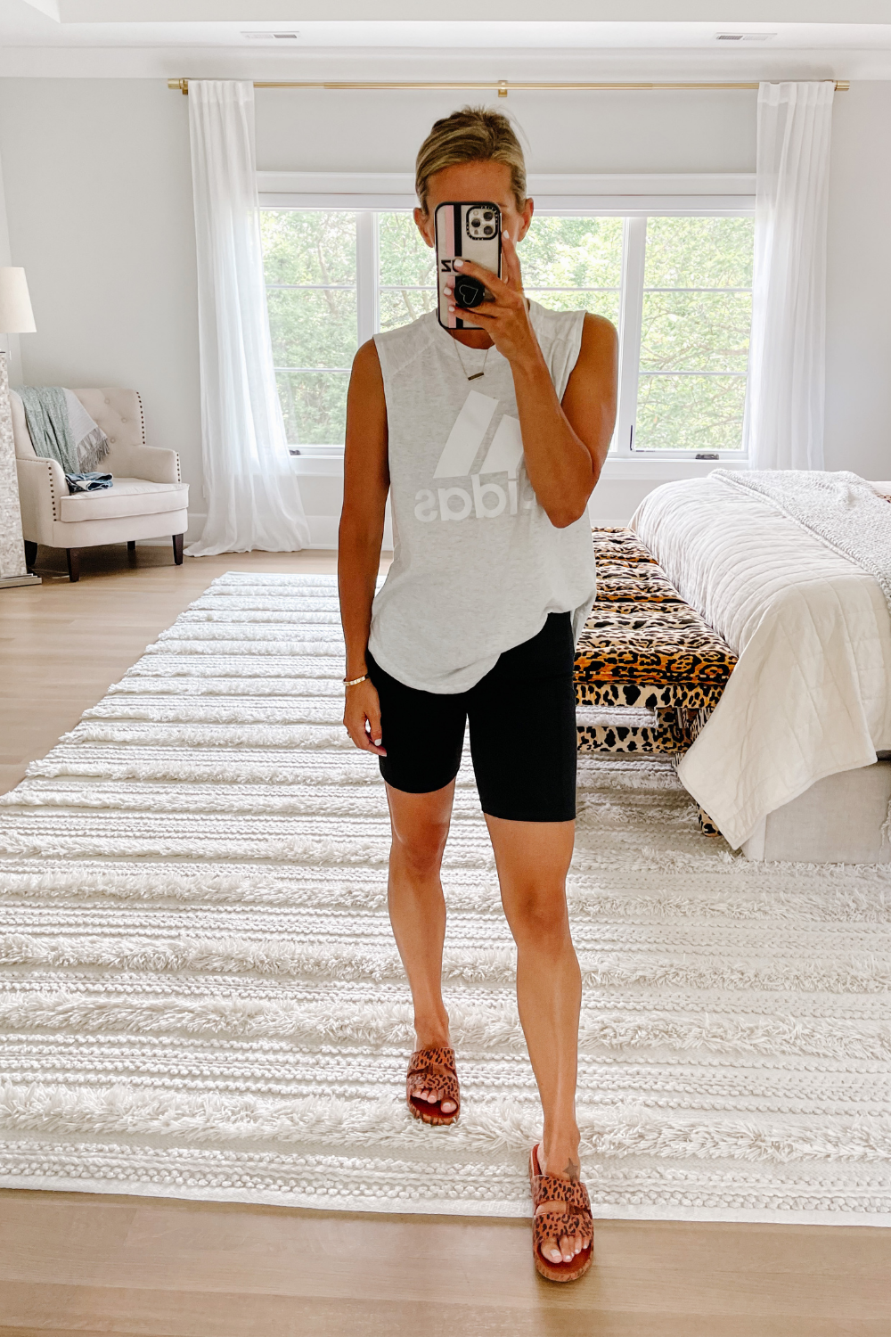 August #ootd round up: Adidas tank and biker shorts