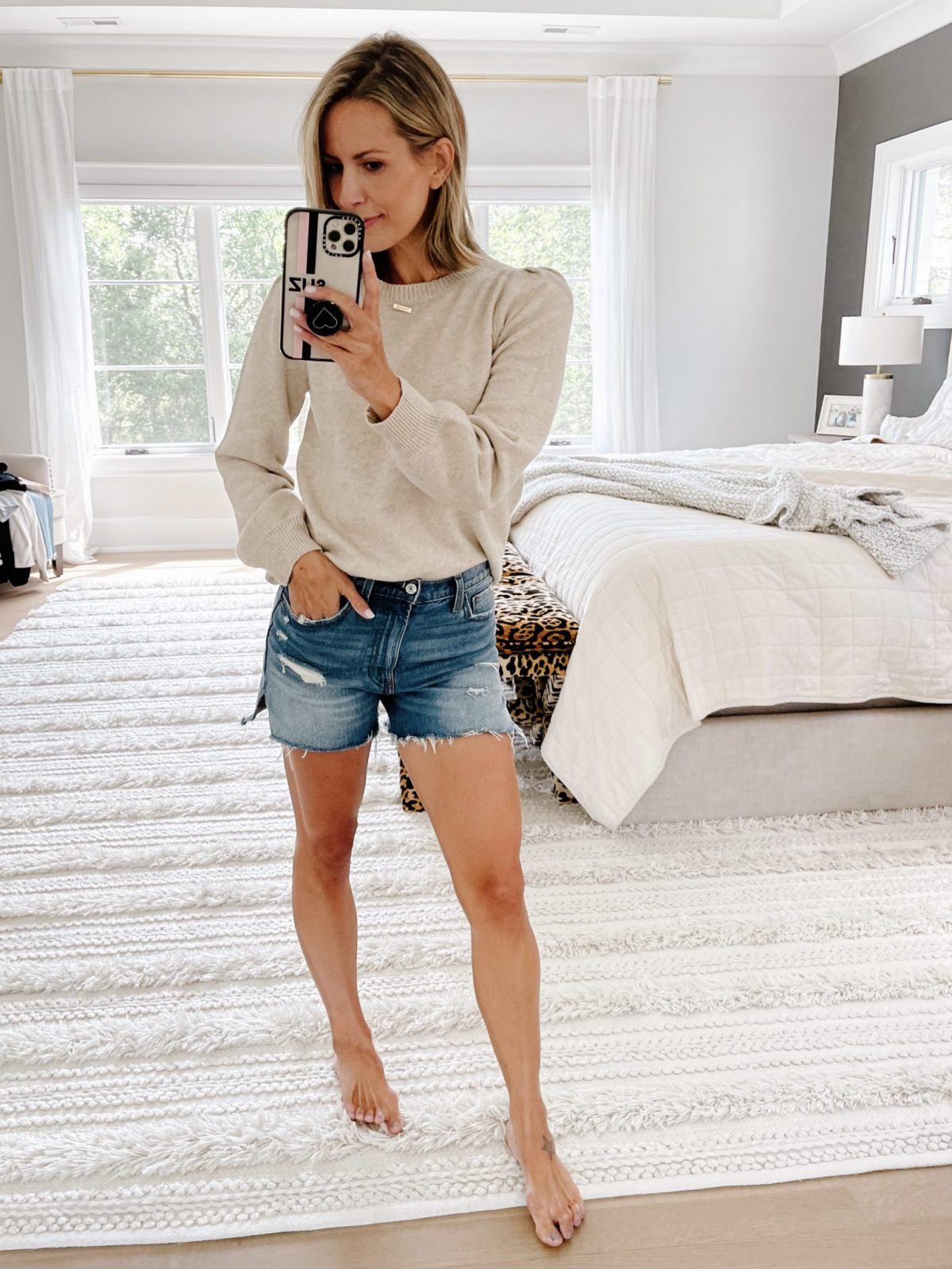 Sunday Sweet Edit outfit idea: sweater and shorts