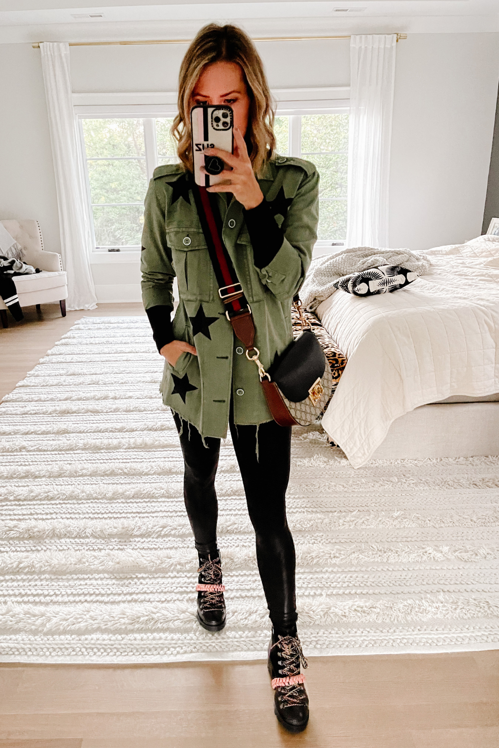 #ootd, army jacket, faux leather leggings and combat boots