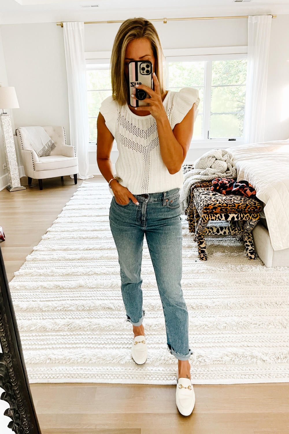 August #ootd round up: ruffle sleeve tank and denim
