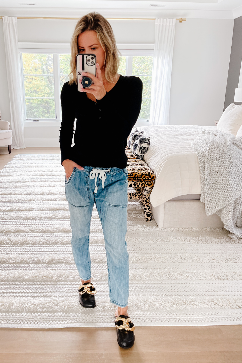 September Amazon Haul, henley and drawstring jeans